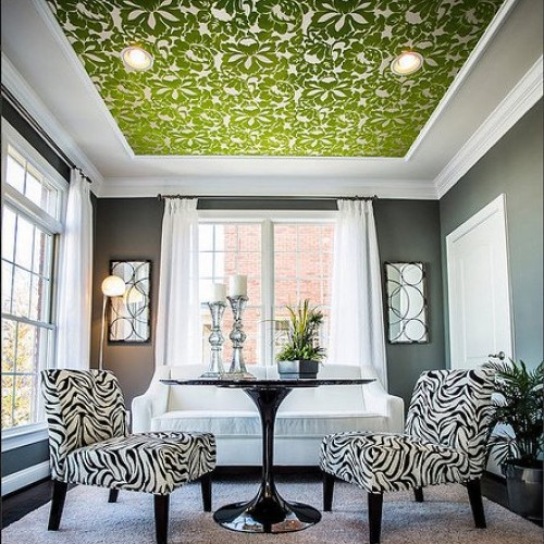 Green-paper-ceiling-with-grey-walls
